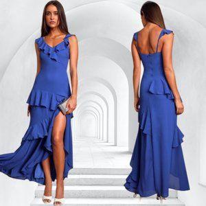 NWT Lulus Calle Royal Blue Ruffled Sleeveless Maxi Dress